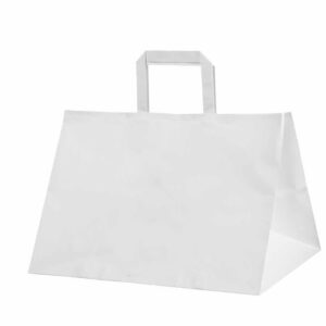 Paper bag 320x200x280mm white, flat handles