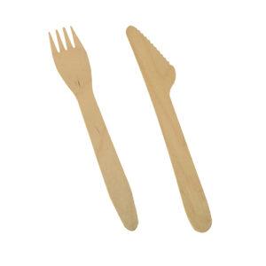 Puidust nuga ja kahvel 165mm (500 tk)