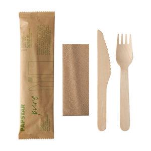 Söögiriistade komplekt, puidust nuga, kahvel, salvrätik paberkotis (50 tk)